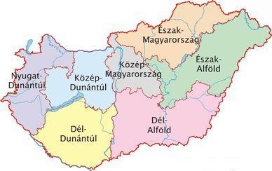 Magyarország régió térképe.